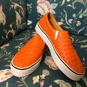 Bottega Veneta Orange Leather Slip On Sneakers